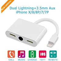 iPhone Adapter, Music & Call & Charge Adapter, Support iOS 11 and before, Dual Lightning & 3.5 mm Jack Earphone Splitter for iPhone X/iPhone 8/iPhone 8 Plus/iPhone 7/iPhone 7 Plus/iPhone 6