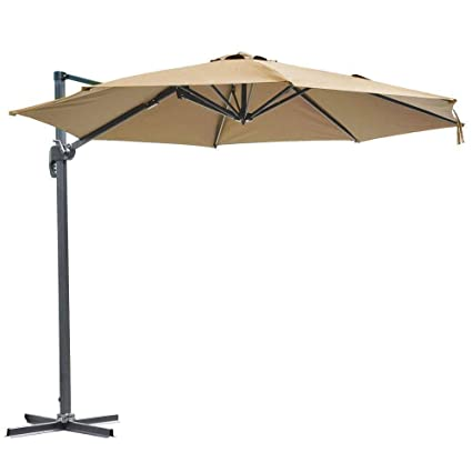 b918b6e6f433b 10ft Hanging Roma Offset Umbrella Outdoor Patio Sun Shade Cantilever Crank  Canopy - TAN : Garden & Outdoor