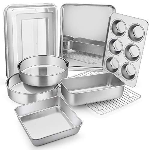 Stainless Steel Bakeware Set, E-far Metal Baking Pan Set of 9, Include Round/Square Cake Pans, Rectangle Baking Pan with…