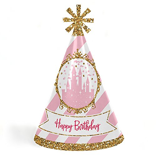 Little Princess Crown - Cone Pink and Gold Princess Happy Birthday Party Hats for Kids and Adults - Set of 8 (Standard Size) -