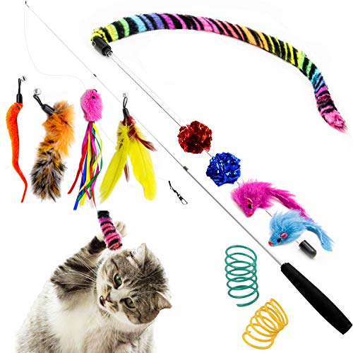 Youngever Cat Teaser Feather Toy, Retractable Cat Toys Wand with Assorted Teaser Refills, Interactive Feather Teaser Wand Toy Bell Kitten Cat Having Fun Exerciser Playing
