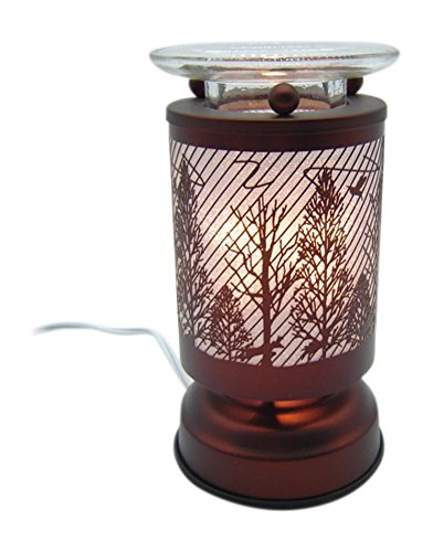 L&V New Electric Touch Fragrance Aromatherapy Lamp Oil Warmer Woods Deer Forest Animals Birds Scene Cabin Decor by L&V
