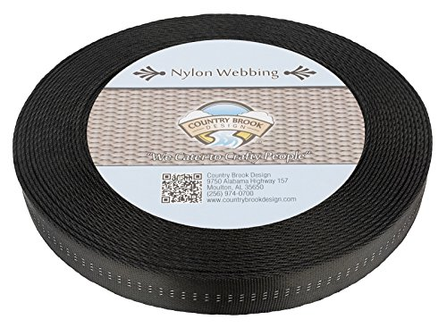 Country Brook Design 1 Inch Black Climbing Spec Tubular Nylon Webbing, 10 Yards ()