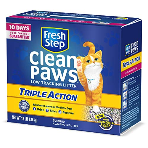 Fresh Step Clean Paws Triple Action Scented Litter, Clumping Cat Litter, 18...
