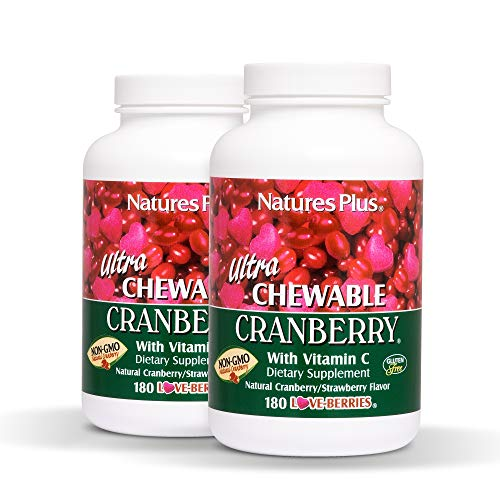 Natures Plus Ultra Chewable Cranberry Love Berries Tablets (2 Pack) - 400 mg, 180 Vegetarian Tablets - Natural Cranberry Supplement, Promotes Urinary Tract Health - Gluten Free - 90 Servings
