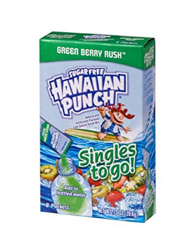 Green Drink Mix (Hawaiian Punch Singles To Go Powder Packets, Water Drink Mix, Green Berry Rush, 96 Single Servings (Pack of 12))