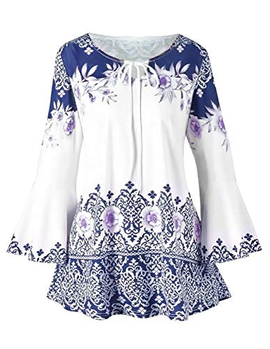 (Women Printed Flare Tunics Floral Vintage Blouses Long Flower Bell Sleeve Keyhole T-Shirts Plus Size Tops )