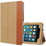 Ztotop Folio Case for All-New Amazon Fire 7 Tablet (7th Generation, 2017 Release) - Smart Cover Slim Folding Stand Case with Auto Wake / Sleep for Fire 7 Tablet, Denim Brown