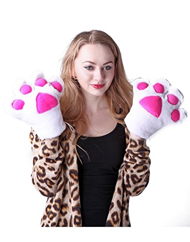 HDE Adult Halloween Costume Cosplay Cute Soft Kitty Cat Girl Paw Gloves (White) (Goth Halloween Costumes For Kids)