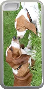 Rikki KnightTM Basset Hound Puppies Design iPhone 5c Case Cover (Clear Rubber with bumper protection) for Apple iPhone 5c