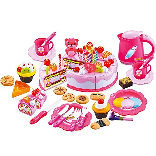 MAGIKON Plastic Pretend Play Cutting Food Birthday Cake Toy Set (Pink, 80pcs (Toy Birthday Cake Set)