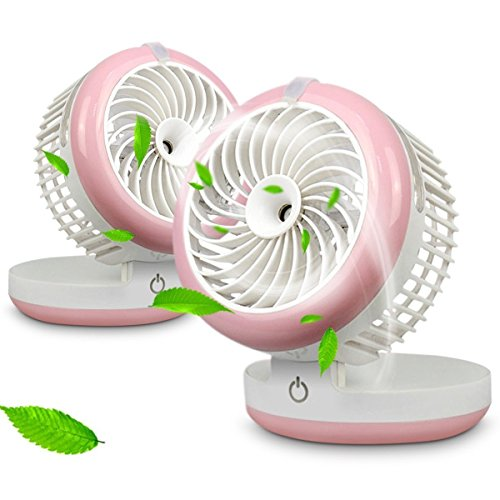 Mini Portable Fan, Portable USB Mini Table Fan with 2000mAh Power Bank For Portable Air Conditioning Fan, Humidifier Fan, Portable Water Spray Fan and Desktop Humidifier (Pink)