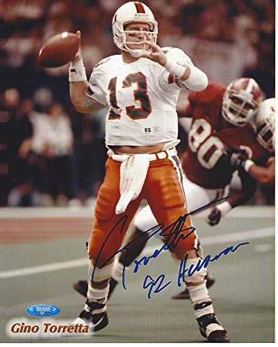 Trophy 1992 Heisman - Signed Gino Torretta Photograph - QB- #13 1992 HEISMAN TROPHY WINNER 8x10 Color - Autographed College Photos
