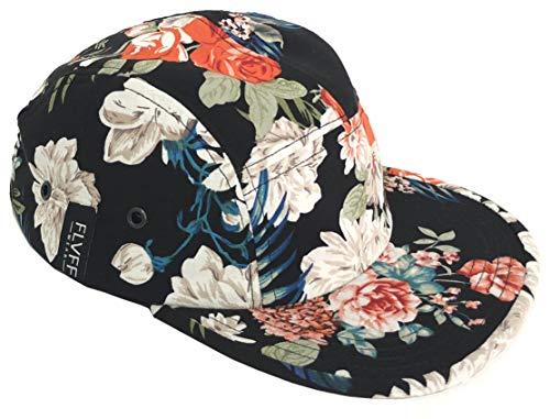 FLVFF 5 Panel Hat for Men Flat Brim Baseball Cap Urban Street Camper Hats (Floral 1, Challis) (Floral Hat Cap)