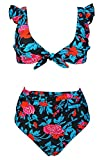 COCOSHIP Black & Jade & Red Floral Fling Leaves High Waisted Shirred Bikini Set Tie Front Closure Top Ruffle Straps Swimsuit 10(FBA)