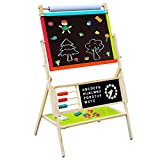 Cheerwing Wooden Standing Art Easel with Whiteboard, Chalkboard, Paper Roll