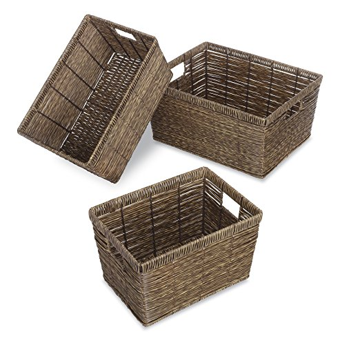 Whitmor Distressed Rattique Storage Baskets Set of 3 (Dark Wicker Basket)