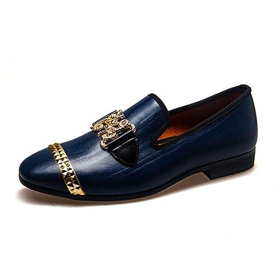 MMJ Zapatos de los Hombres, Nuevo Hombre Flecos Zapatos Casuales Wild England Zapatos Transpirables Slip en Mocasines Planos,b,42: Amazon.es: Jardín