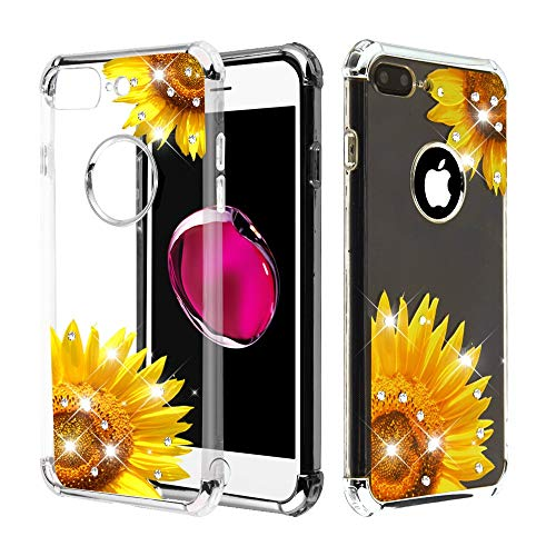- Case+Tempered_Glass+Stylus, TPU Candy Skin Cover Fits Apple iPhone 7 Plus/8 Plus (Also Fits 6 Plus/6S Plus, But Cannot Use Earphone) Electroplating Silver/Sunflower Stuffed Diamante/Artificial Diamond