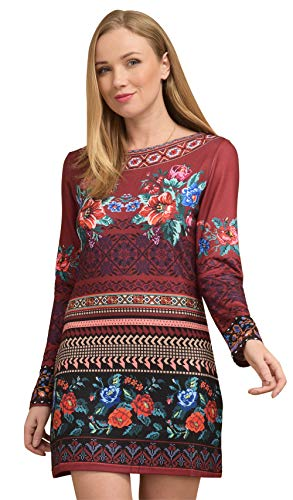 Longues Rouge Femme Manches Robe Imprimée Idees Rond Col 101 YCS6wgqx