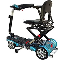 EV Rider TransportFolding Mobility Scooter w,Arm Rests, Upgraded 12V15Ah Long Range Batteries & 3 Color Choices! (Blue)