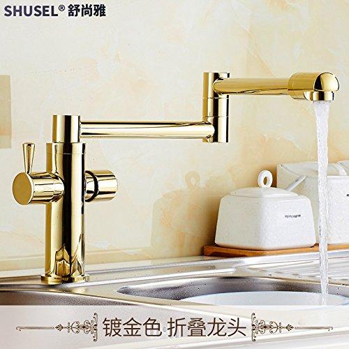 SADASD Contemporary Bathroom Full Copper Basin Faucet gold redation Foldable Telescopic gold Folding Basin Sink Mixer Tap Ceramic Valve Single Hole Single Handle Cold Water With G1 2 Hose