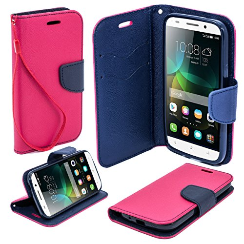 Moozy® dual color Fancy Diary Book Wallet Case Flip cover with stand / wrist strap / Silicone phone holder for Huawei Honor 4C, Pink / Blue