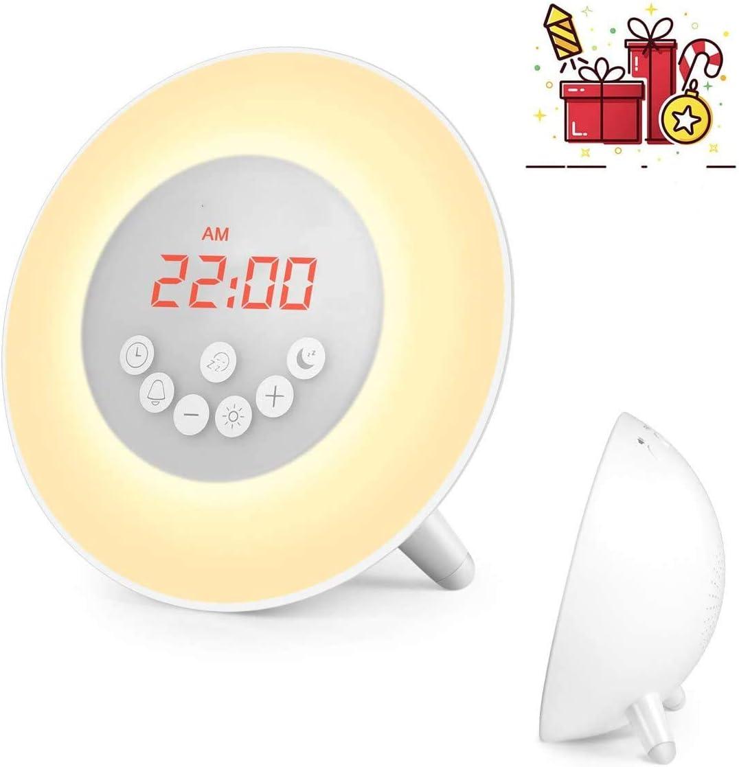Sunrise Alarm Clock, Wake Up Light with 6 Nature Sounds, FM Radio, Warm Light, Bedside Sunrise Simulator