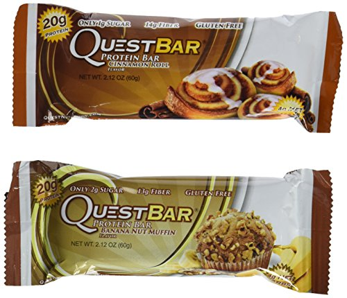Quest Nutrition - 2 Items: Banana Nut Muffin (12 Bars) & Cinnamon Roll (12 Bars)