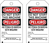 Brady  86467 7'' Height x 4'' Width, Heavy Duty Polyester (B-837), Black/Red on White Accident Prevention Tags (10 Tags)