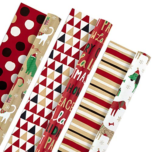 Hallmark Christmas Reversible Wrapping Paper Bundle, Pets and Patterns (Pack of 3, 120 sq. ft. ttl) Cats, Dogs, Stripes, Polka Dots, Paw La La La (Christmas Dog Gifts)