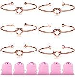 Ruarua Love Knot Bracelet for Women Bridesmaid Bracelets Cuff Bangle Girls 6 Pcs a Set