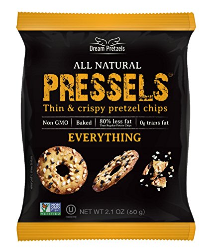 Pressels Baked Pretzel Chips – Non-GMO, Low-Calorie, Vegan, Kosher – Less Fat & Sodium Than Ordinary Chip – Thin, Crispy, Tasty Mini Pretzel Snack Bags by Dream Pretzels, Everything, 2.1 Oz, 8-Pack ()