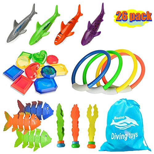 26pcs Diving Toys Underwater Children's Toys / Diving Pool Toy Rings, Toypedo Bandits, Stringed Octopus and Diving Fish & Underwater Treasure Gift Sets