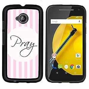 LECELL--Funda protectora / Cubierta / Piel For Motorola Moto E2 E2nd Gen -- Dios Líneas rosadas cristiana religiosa --