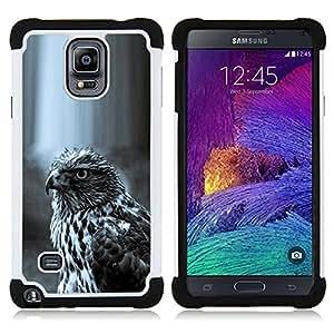 """Pulsar ( Halcón Negro Blanco Naturaleza Caza Presa"""" ) Samsung Galaxy Note 4 IV / SM-N910 SM-N910 híbrida Heavy Duty Impact pesado deber de protección a los choques caso Carcasa de parachoques"""