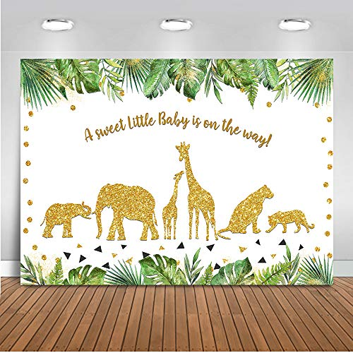 Mehofoto Safari Baby Shower Backdrop Party Animals Jungle Photography Background 7x5ft Vinyl Safari Animals Baby Shower Party Backdrops -