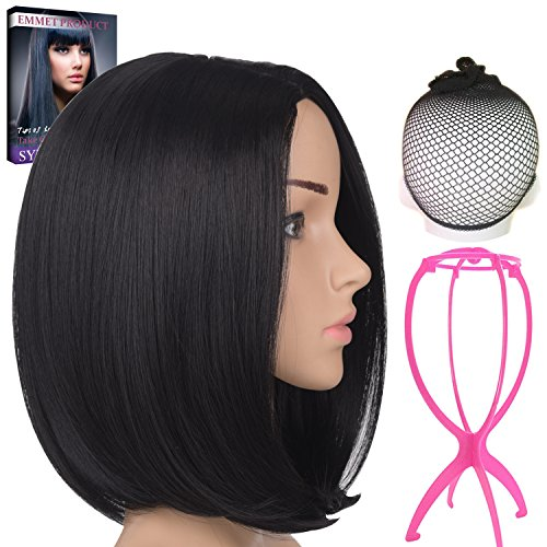 """Emmet Short Bob Wig 12"""" Shoulder Length Soft Silk Synthetic Kanekalon Dark Roots Ombre Color Women's Wigs with Free Wig Cap & Free Wig Stand Holder & Free Ebook (Natural Black)"""