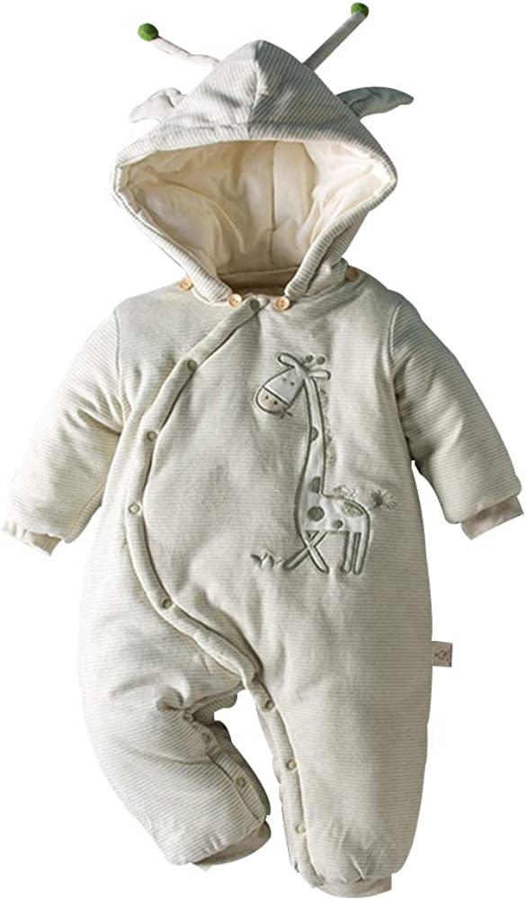 FCQNY ToddlersWinter Thicken Onesie Cartoon Giraffe Cute Antenna Hooded Jumpsuit Green