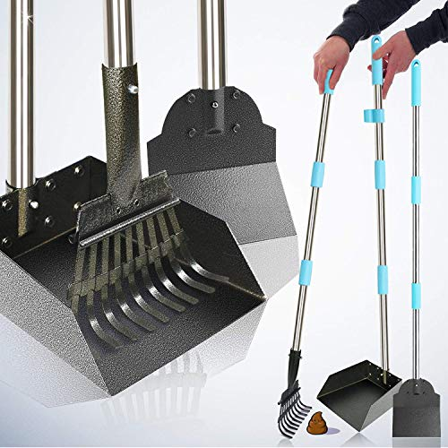 """WWVVPET Dog Pooper Scooper,Upgraded Pet Poop Tray & Rake Spade Set with Bags,42"""" Longer Detachable Adjustable Stainless Steel Handle Bin with Rake,Waste Removal Scoop for Large and Small Dogs 3 Pack from WWVVPET"""