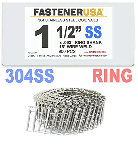 1 1/2'' x .093 RING 304 STAINLESS COIL NAILS 15 DEGREE WIRE 900ct SidePak