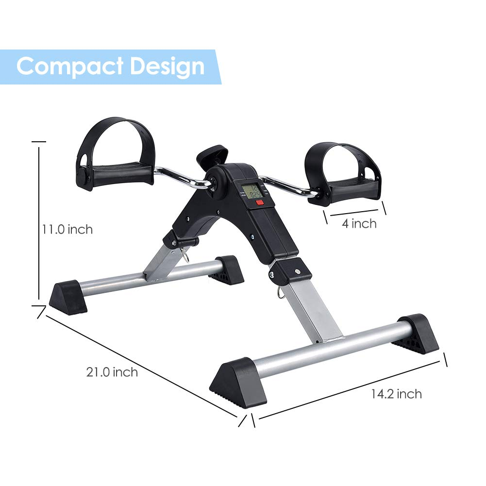 SYNTEAM Foldable Pedal Exerciser with LCD monitor bike exercise machine for Seniors-Fully Assembled, No Tools Required(Black) by Synteam (Image #6)
