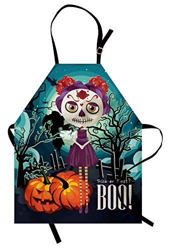 Lunarable Halloween Apron, Cartoon Girl with Sugar Skull Makeup Retro Seasonal Artwork Swirled Trees Boo, Unisex Kitchen Bib Apron with Adjustable Neck for Cooking Baking Gardening, Multicolor -