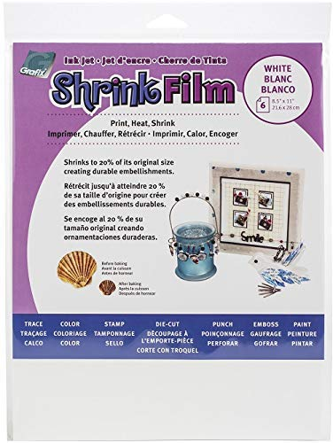 Grafix KSF6-WIJ Printable Shrink Film 8.5X11 6PC, 6-Pack, White