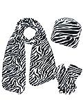 Black & White Zebra Print Fleece Hat Scarf & Matching Glove Set