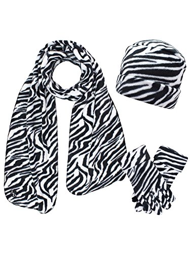 Black & White Zebra Print Fleece Hat Scarf & Matching Glove Set