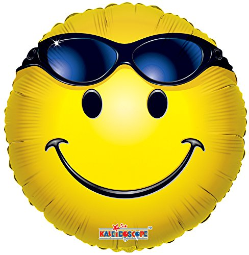 - Kaleidoscope Emoji Smiley with Sunglasses Mylar Balloon, 5 Piece