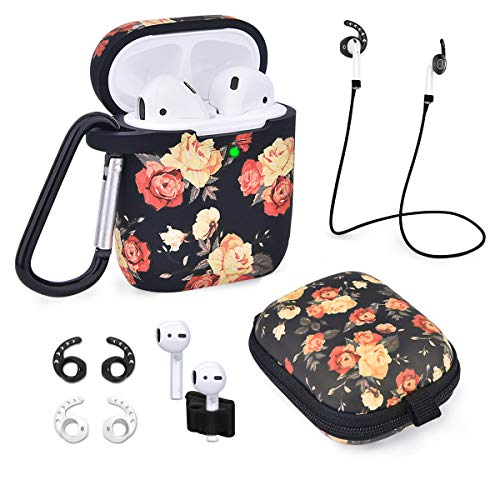 Airpods Case – Airspo 7 in 1 Airpods Accessories Set Compatible with Airpods 1 & 2 Protective Silicone Cover Floral…
