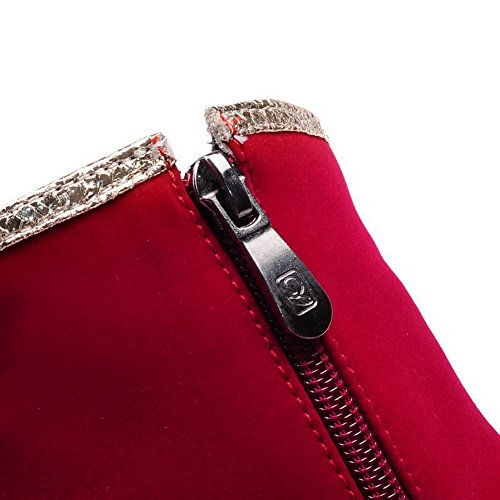 AllhqFashion Mujeres Puntera Redonda Sólido Caña Baja Tacón de aguja Botas con Lentejuelas Rojo