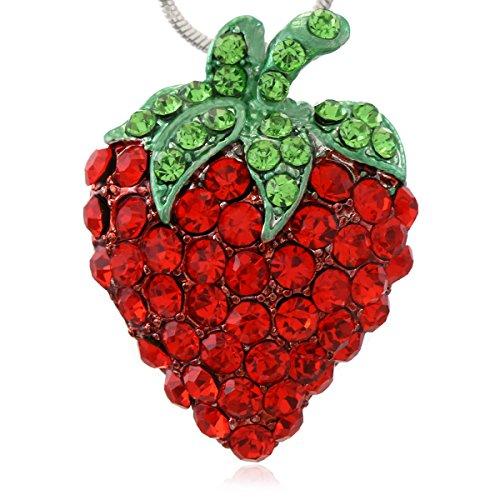 Strawberry Charm Necklace - Green Leaf Red Strawberry Berry Fruit Pendant Necklace Charm Designer Fashion Jewelry